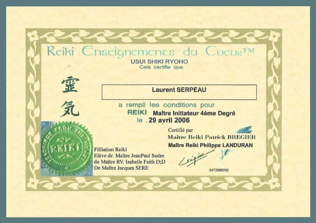 diplôme maître Reiki laurent Serpeau