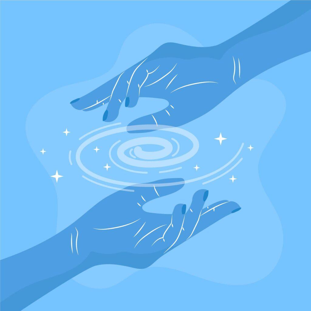 Énergie reiki dans les mains