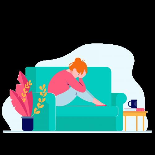 femme sur canapé souffrant de douleurs
